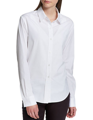 Dkny Cotton Button-Down Shirt-WHITE-Large