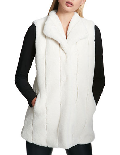Dkny Faux Fur Gilet-NATURAL-X-Small