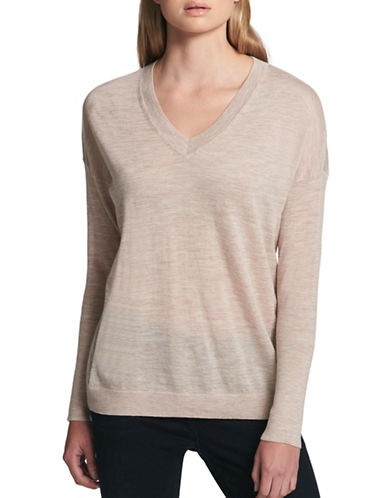 Dkny Merino Wool V-Neck Sweater-BEIGE-X-Large