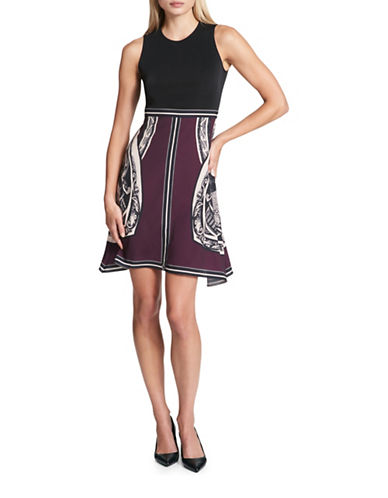 Dkny Sleeveless Scarf Combo Dress-BLACK/PURPLE-6