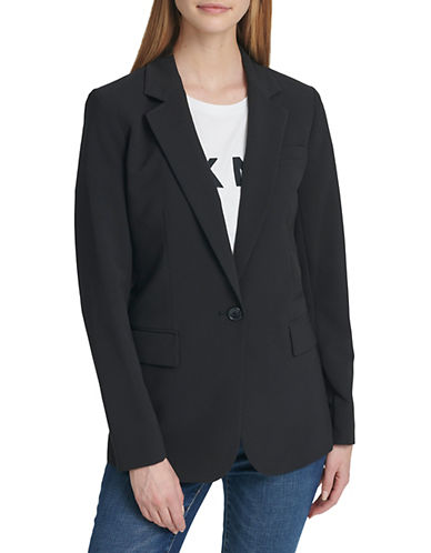 Dkny One-Button Blazer-BLACK-4