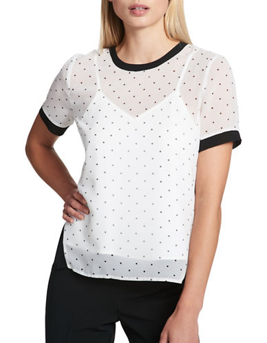 Dkny Polka Dot Mesh Top-WHITE-X-Small