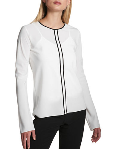 Dkny Simple Trim Long-Sleeve Top-WHITE/BLACK-Small