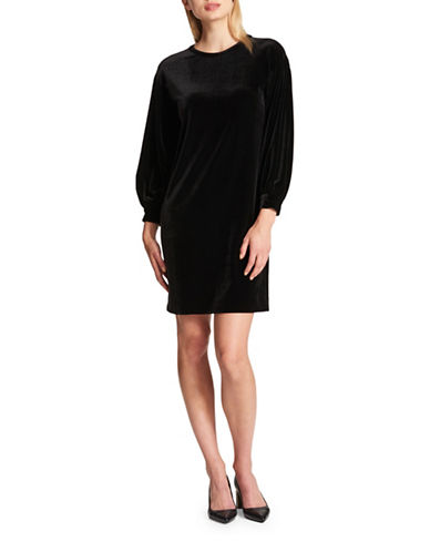 Dkny Velvet Bishop-Sleeve Shift Dress-BLACK-Large