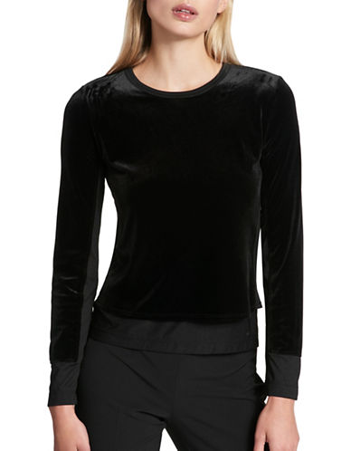 Dkny Mixed Media Silk-Blend Top-BLACK-Large