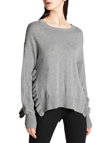Dkny Ruffle Side-Slit Sweater-GREY-X-Large