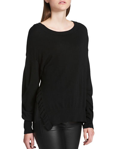 Dkny Ruffle Side-Slit Sweater-BLACK-Large