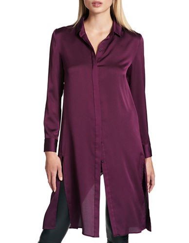 Dkny Long Sleeve Button Thru Dress-PURPLE-Medium
