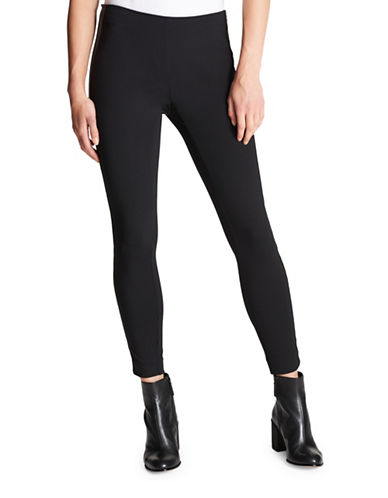 Dkny Faux Leather Side Zip Pants-BLACK-X-Small