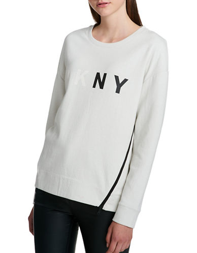 Dkny Two-Tone Long Sleeve Top-GREY-Large