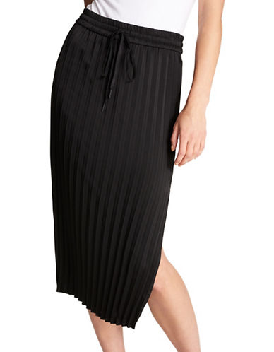 Dkny Split Hem Pleated Skirt-BLACK-Small