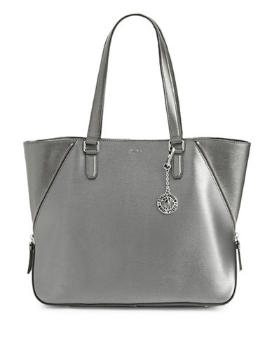 Dkny Metallic Zip Leather Tote-PEWTER-One Size