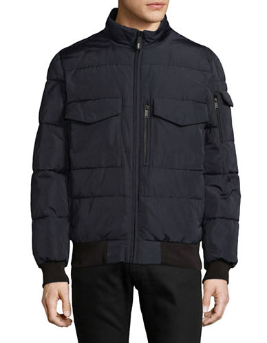 Dkny Quilted Bomber Jacket-NAVY-X-Large