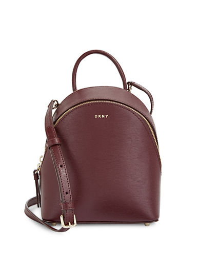 Dkny Mini Leather Backpack Crossbody-CORDOVAN-One Size
