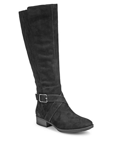 Dkny Mattie Quilted Leather Mid-Calf Boots-BLACK SUEDE-9