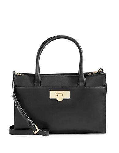 Dkny Leather Satchel-BLACK-One Size