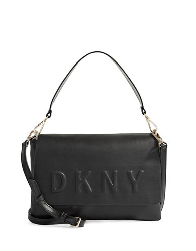 Dkny Convertible Leather Bag-BLACK-One Size