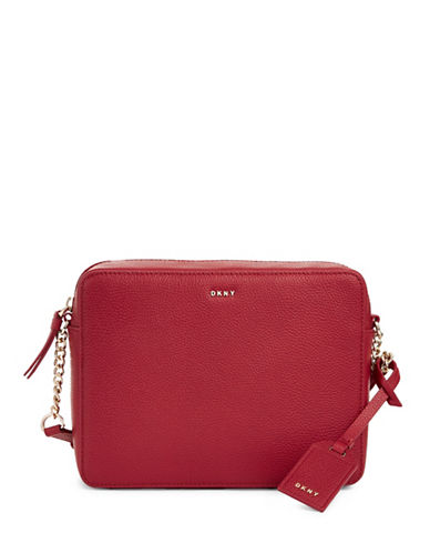 Dkny Camera Pebble Leather Crossbody Bag-RED-One Size
