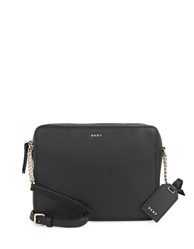 Dkny Camera Pebble Leather Crossbody Bag-BLACK-One Size