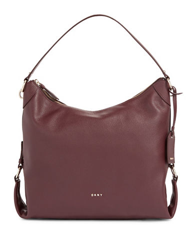 Dkny Leather Shopper Bag-RED-One Size
