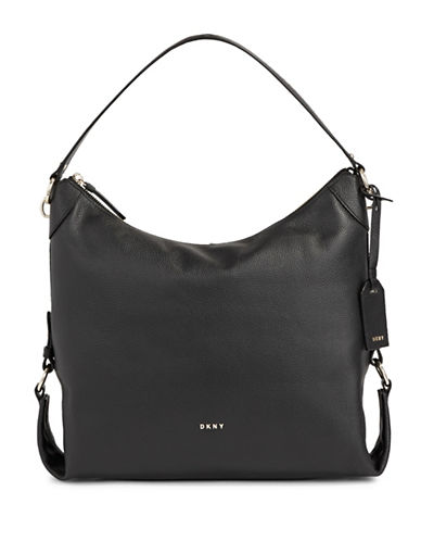 Dkny Leather Shopper Bag-BLACK-One Size