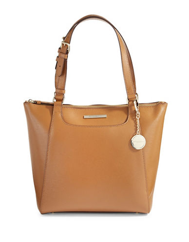 Donna Karan Medium Leather Tote-CAMEL-One Size