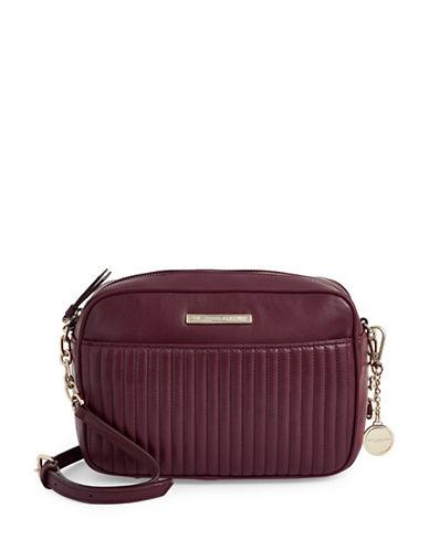 Donna Karan Quilted Leather Shoulder Bag-RED-One Size