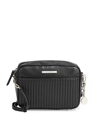 Donna Karan Quilted Leather Shoulder Bag-BLACK-One Size