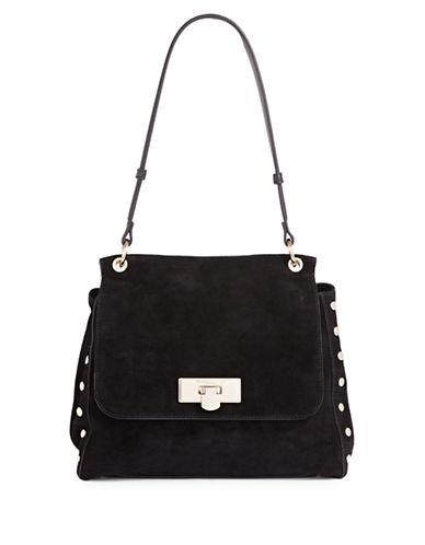 Donna Karan Suede Shoulder Bag-BLACK-One Size