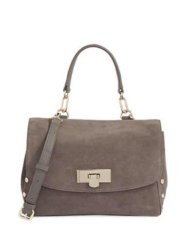 Donna Karan Suede Shoulder Bag-BEIGE-One Size