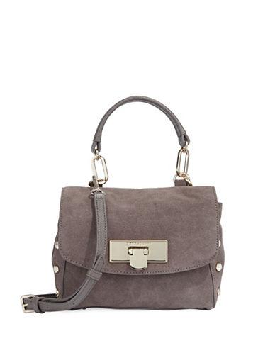 Donna Karan Mini Suede Shoulder Bag-BEIGE-One Size