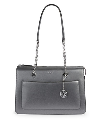 Dkny Leather Top Zip Tote-GREY-One Size
