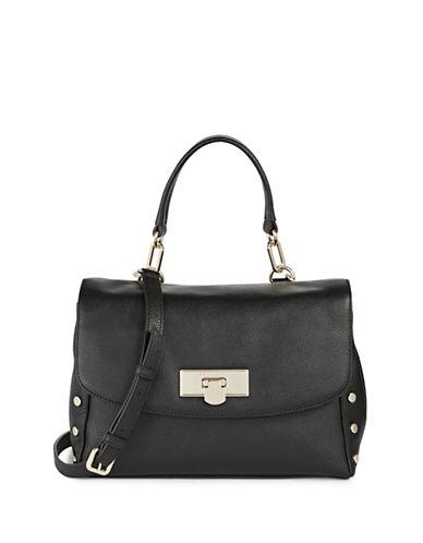 Donna Karan Chelsea Large Leather Shoulder Bag-BLACK-One Size