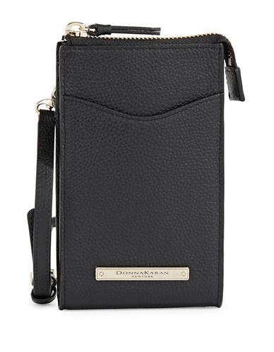 Donna Karan Leather Cross Body iPhone Holder-BLACK-One Size