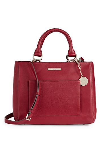 Donna Karan Pebbled Leather Top-Handle Bag-RED-One Size