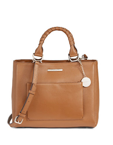 Donna Karan Pebbled Leather Top-Handle Bag-BEIGE-One Size
