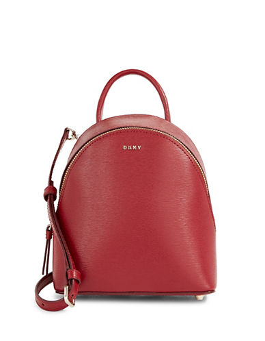 Dkny Mini Leather Backpack Crossbody-SCARLET RED-One Size