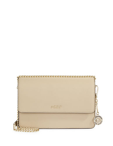 Dkny Leather Crossbody Bag-BEIGE-One Size