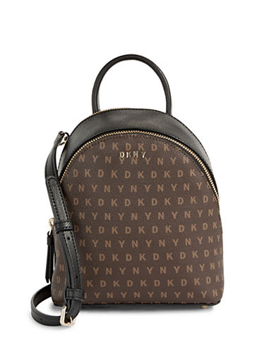 Dkny Mini Logo Print Backpack Crossbody-BROWN-One Size