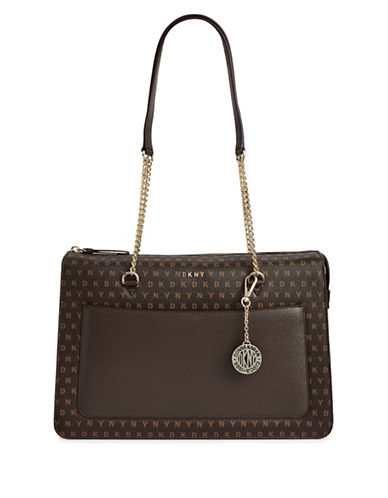 Dkny Logo Print Top-Zip Tote-BROWN-One Size