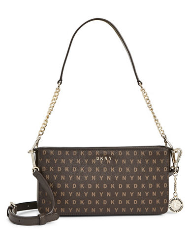 Dkny Convertible Logo Print Leather Purse-BROWN-One Size