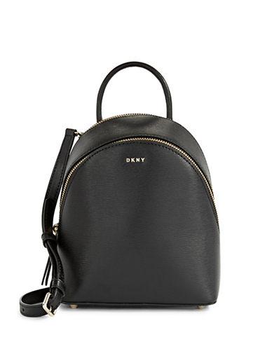 Dkny Mini Leather Backpack Crossbody-BLACK-One Size