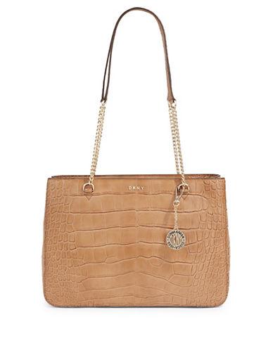 Dkny Embossed Leather Shoulder Bag-BEIGE-One Size