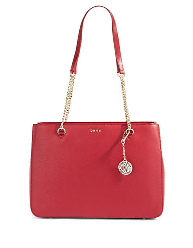 Dkny Leather Curb Chain Shopper Bag-RED-One Size