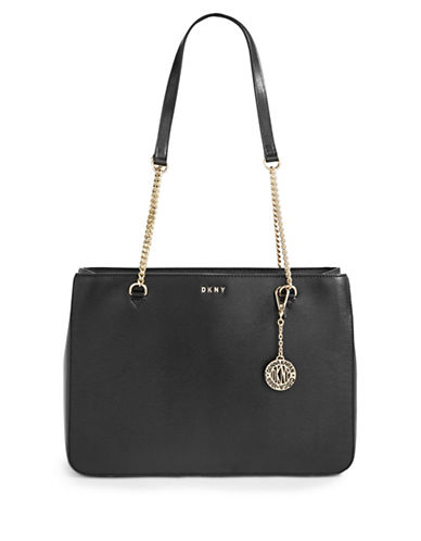 Dkny Leather Curb Chain Shopper Bag-BLACK-One Size