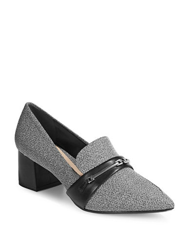 Dkny Gallery Block Loafer Pumps-BLACK WHITE-8