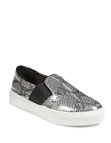 Dkny Metallic Leather Flatforms-SILVER-6.5