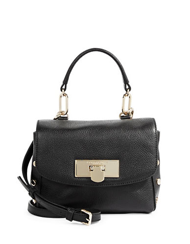 Donna Karan Chelsea Pebbled Leather Shoulder Bag-BLACK-One Size