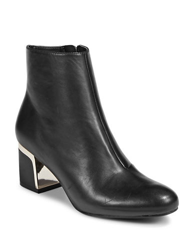 Dkny Leather Ankle Boots-BLACK-10