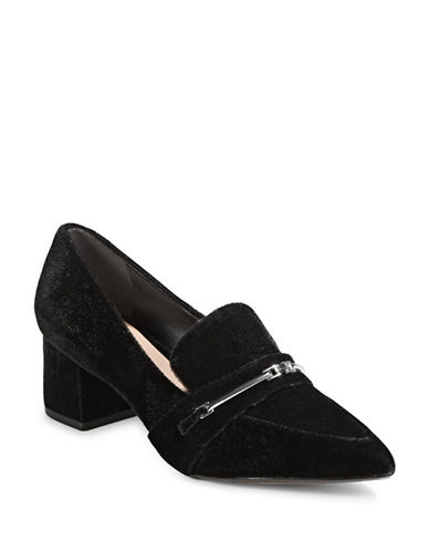 Dkny Gallery Velvet Block Loafer Pumps-BLACK-9